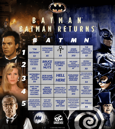 Burton Batman Bingo Card