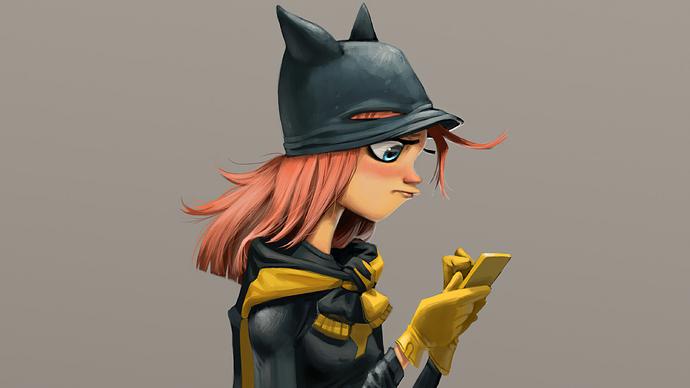 batgirl-using-phone-4k-4g