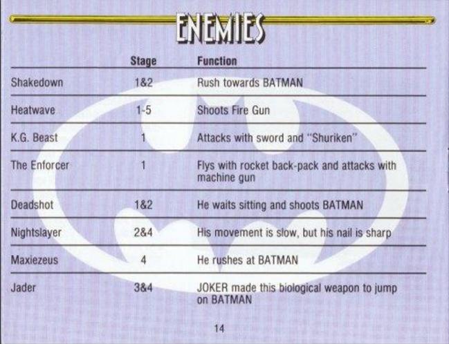 Batman NES Manual