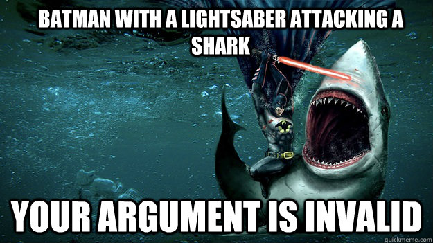 Batman-With-A-Lightsaber-Attacking-A-Shark-Funny-Meme-Image