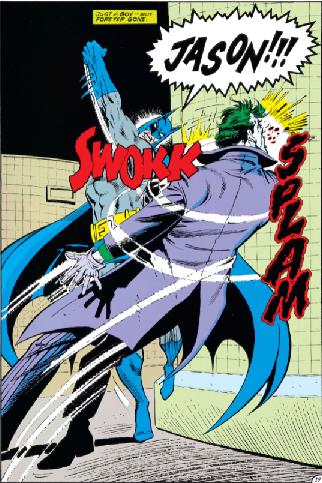 Batman punching Joker