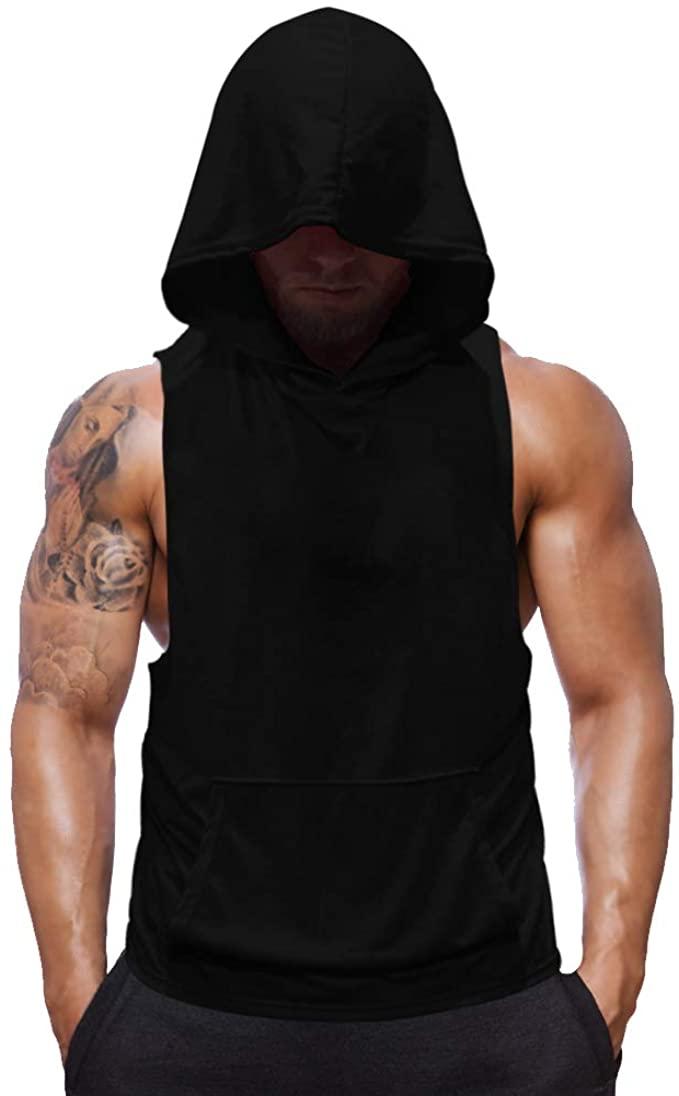 Amazon.com: SZKANI Mens Sleeveless Hoodie Fitness Vest Bodybuilding  Stringers Workout Tank Tops: Clothing