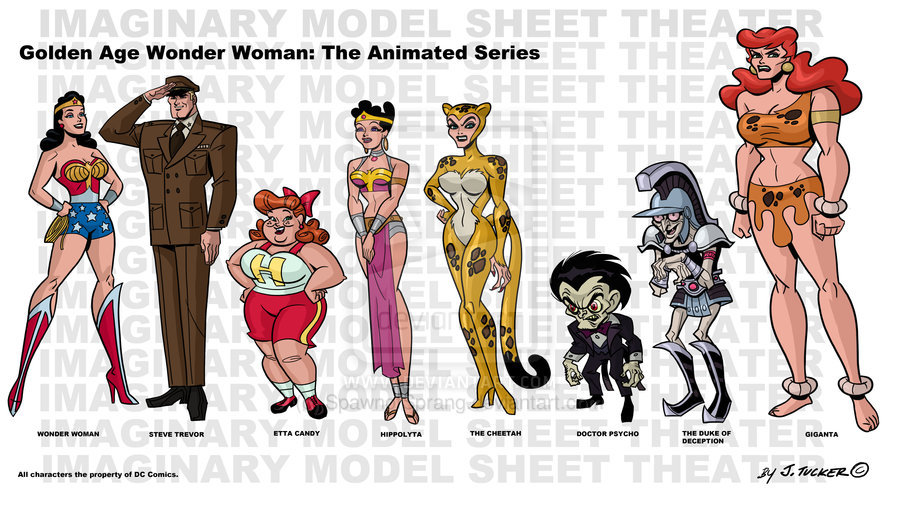 """A model sheet for a fictional """"Golden Age Wonder Woman: The Animated Series,"""" featuring Cheetah, Doctor Psycho, Duke of Deception, and Giganta. I would watch this in a heartbeat! Art by James Tucker..."""